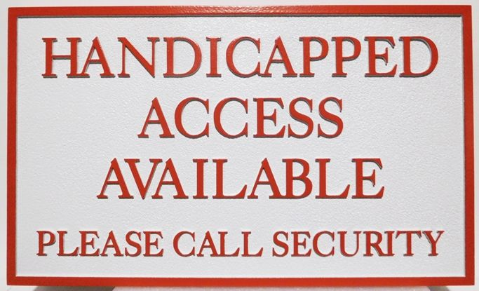 """GB16434 - Carved HDU Pool & Spa """"Handicapped Access""""  Sign"""