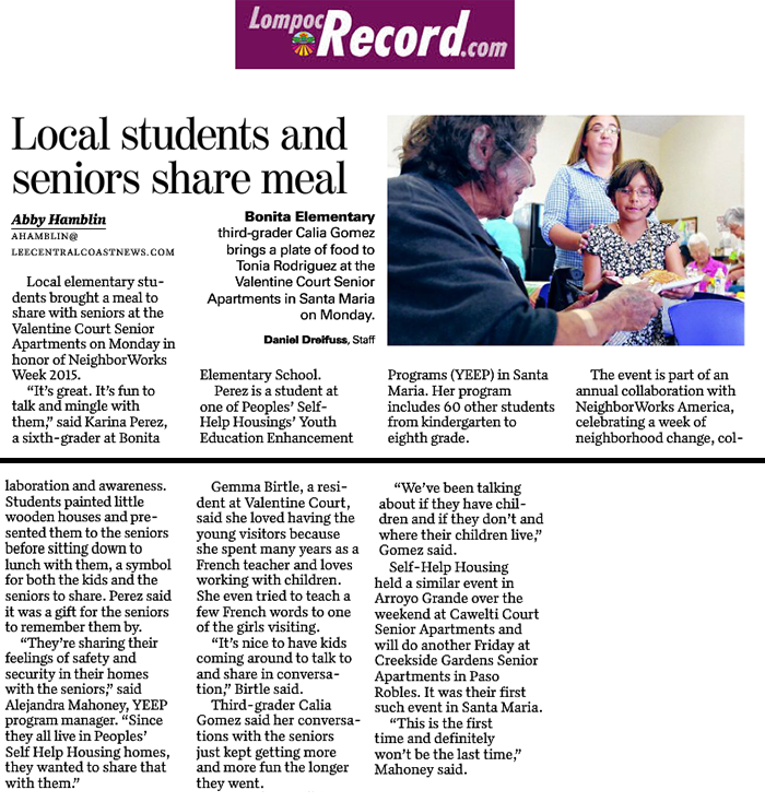 Local Students and Seniors Share Meals - Lompoc Record