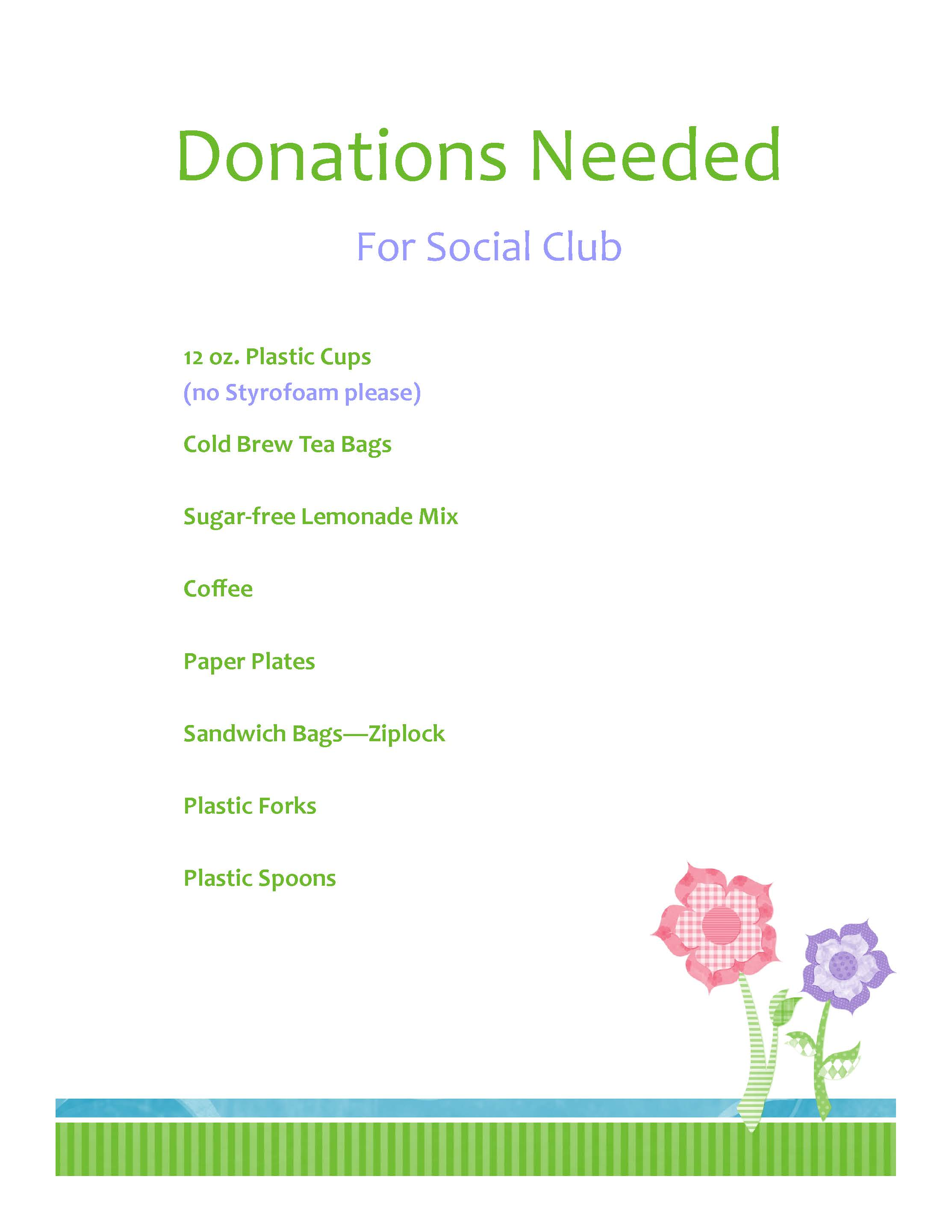 Announcement - Donations Needed for Social Club