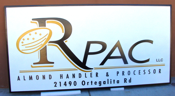 "S28069 - Sign for ""RPAC""  Almond Nut Handling and Processing Plant and Store, Carved Almond Logo"