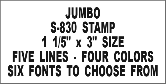 Jumbo Rubber Stamp S-830 5 Text Lines