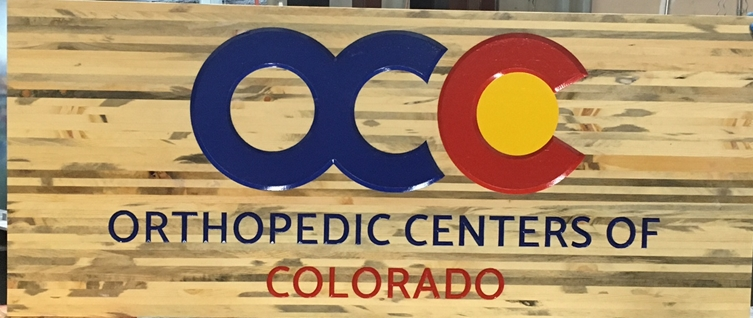 B11157 -  Wood Look, Carved HDU Sign with Engraved Logo and Text for Orthopedic Centers of Colorado