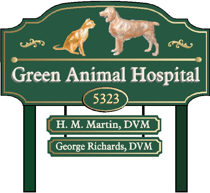 BB11745 - Animal Hospital Carved Address Sign with Posts and Hanging Trailer Signs
