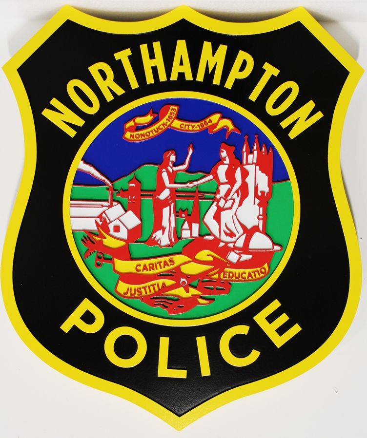 PP-1547  - Carved 2,5-D Multi-Level Relief HDU Plaque of the Seal of the Northhampton  Police Departmen