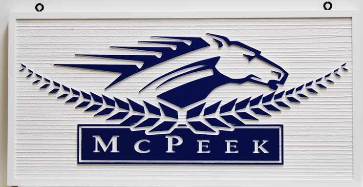 """P25309 - Carved and Sandblasted Wood Grain Sign  for """"McPeek"""" features a Stylized  Head of a Racing Horse"""