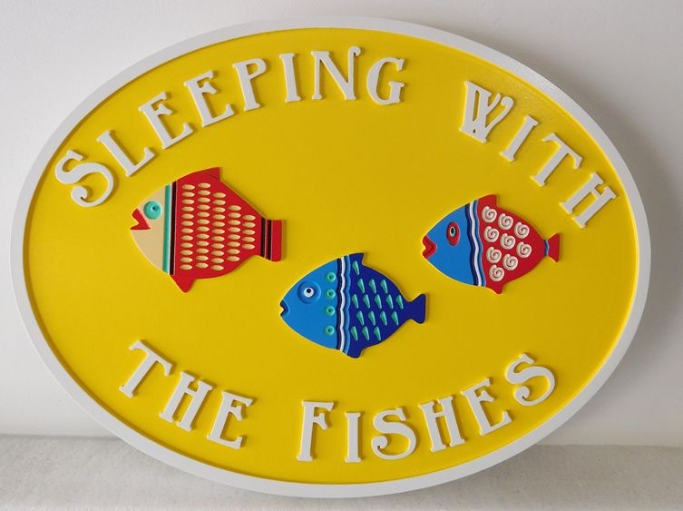 "L21397 - Whimsical Residence Property Name Sign ""Sleeping with the Fishes""  with Three Carved Tropical Fish"