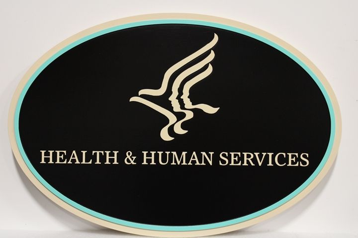 AP-6066 - Carved Plaque of an Emblem for the US Department of Health & Human Services, 2.5-D Flat Relief,  Artist Painted