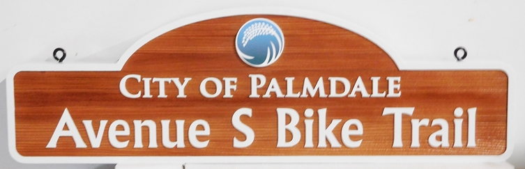 GA16551 - Carved Cedar Wood Sign for the City of Palmdale Bike Trail