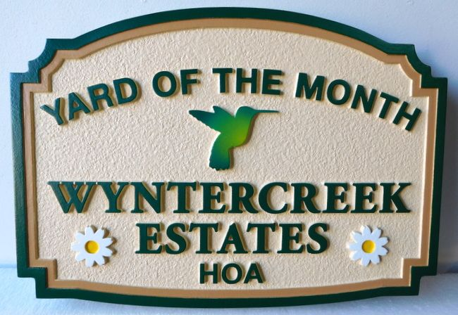 "KA20928 - ""Winter Creek"" HOA Yard-of-the-Month Sign, with Hummingbird and Two Daisy Flowers"
