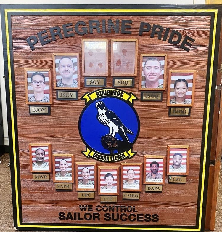 "SA1165- Carved and Sandblasted Cedar Chain-of-Command Board for the Tacron 11, ""Peregrine Pride"" Cedar"