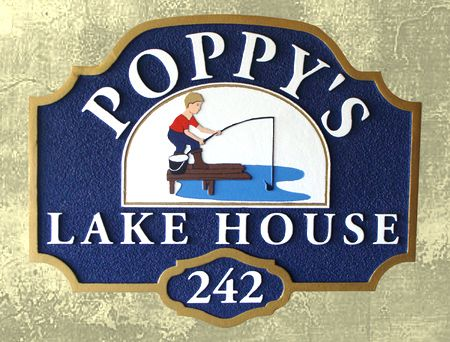 M22442 - Carved Wooden Lake House Property Sign with Boy Fishing on Dock as Artwork