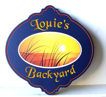 "L21224 - Carved Property Sign ""Louie's Backyard"" for  Seaside Home,  with Sunset and Ocean"
