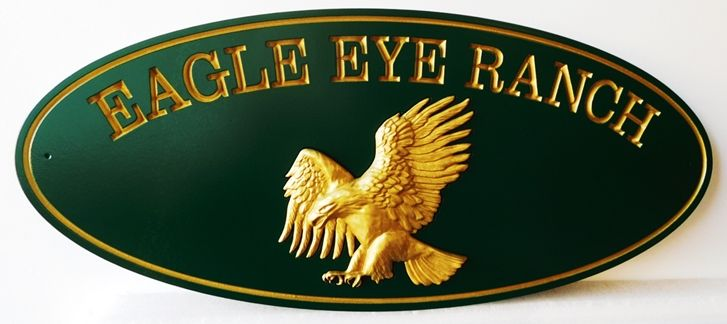 O24625 -  3-D Sign for Eagle Hill Ranch with Carved  Flying Eagle as Artwork, Gilded with 24K Gold Leaf
