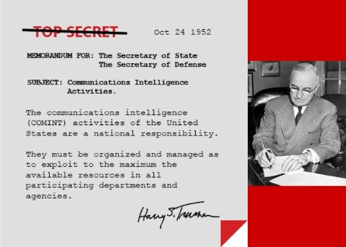 1952: Memorandum from President Truman re: COMINT and NSA