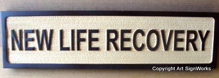 "SA28475 - Sandblasted Blade Sign for Holistic Medicine Center "" New Life Recovery""."