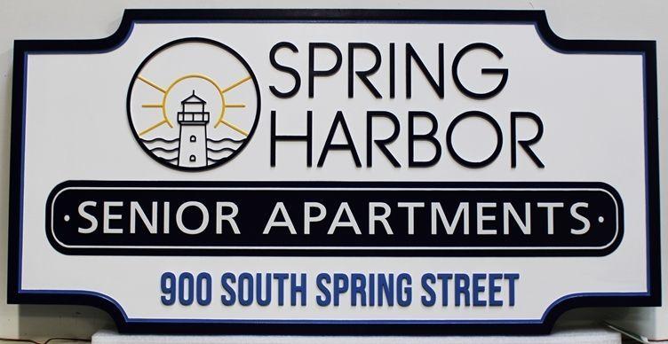 K20391 - Carved High-Density-Urethane (HDU) Entrance Sign for the Spring Harbor Senior Apartments.