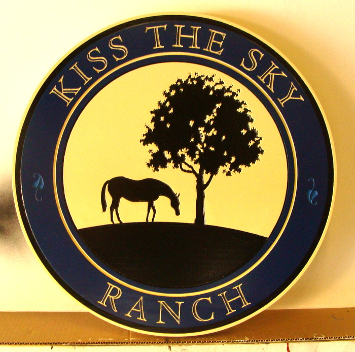 "O24222- Round Carved Wood Ranch Sign, ""Kiss the Sky"" with Horse and Tree in Silhouette"