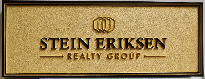 C12452 - Carved and Sandblasted Sign for the Stein Eriksen Realty Group , 2.5-D Artist-Painted