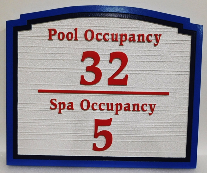 GB16431 - Carved HDU Pool & Spa Maximum Occupancy Sign