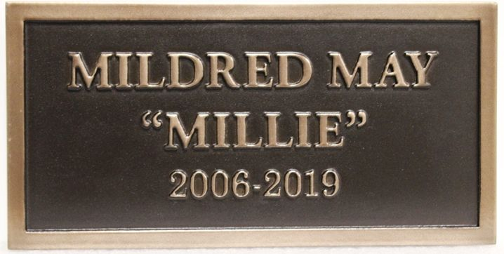 "ZP-2091 - Carved Memorial Wall Plaque for  ""Mildred May Millie"", 2.5-D Brass-Plated"