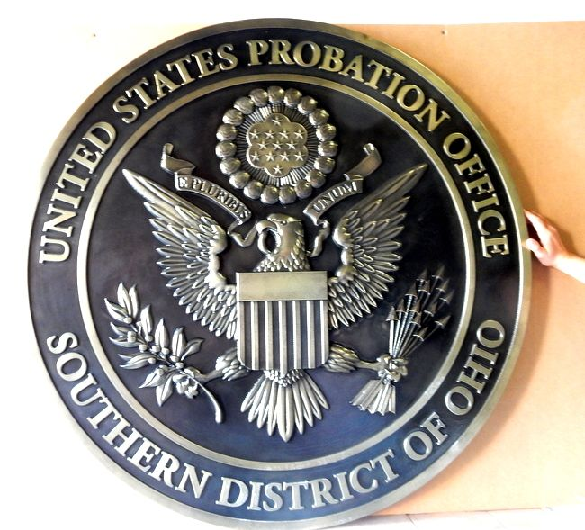 FP-1480 - Carved Plaque of the Seal of the US Probation Office, Southern District of Ohio, Nickel-Silver Plated