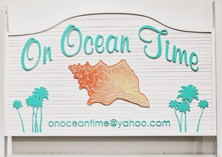 """L21527 - Carved and Sandblasted 2.5-D Multi-level Relief HDU Coastal Residence NameSign """"On Ocean Time"""", with Conch Shell and Palm Trees as Artwork,"""