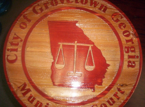 F15068 - Cedar Wood Sign for Municipal Court with Scales of Justice and Map of Georgia