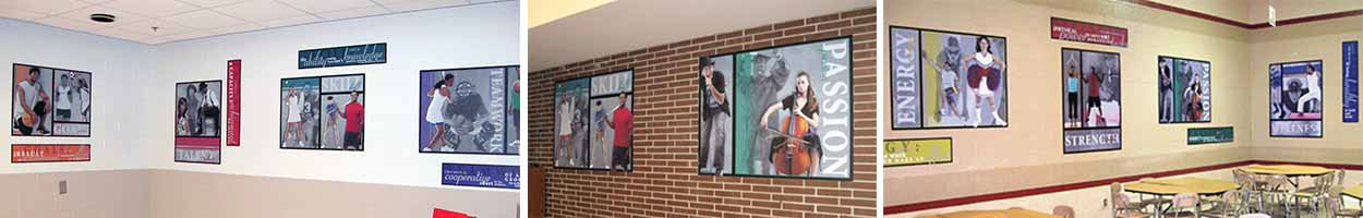 3 pictures of fitness murals in school hallways, custom signs, school sign company