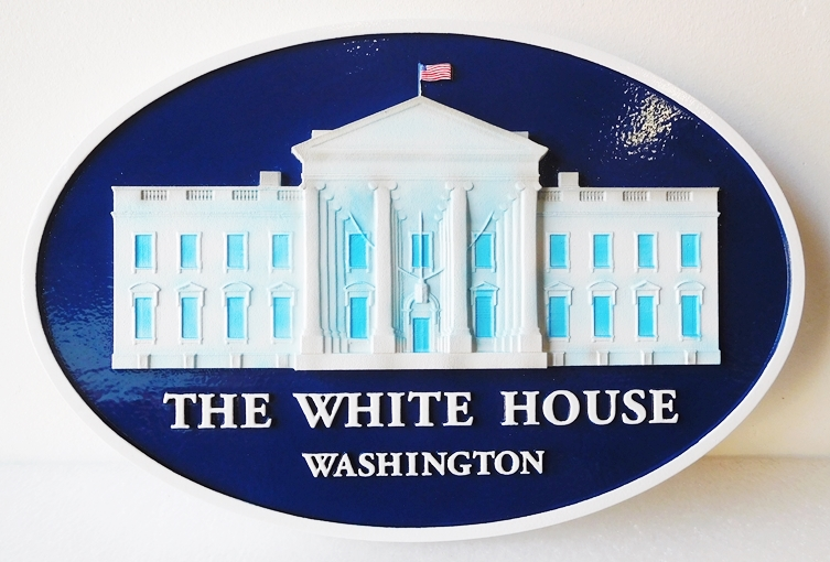 U30093 - Carved Wood White House Wall Plaque