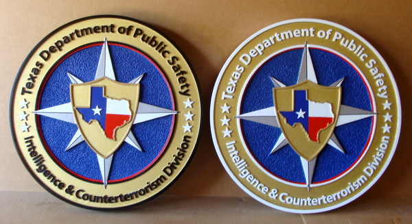 W32486 - Carved 3D HDU Wall Plaques for Texas Department of Public Safety, Intelligence & Counteerterrorism Division
