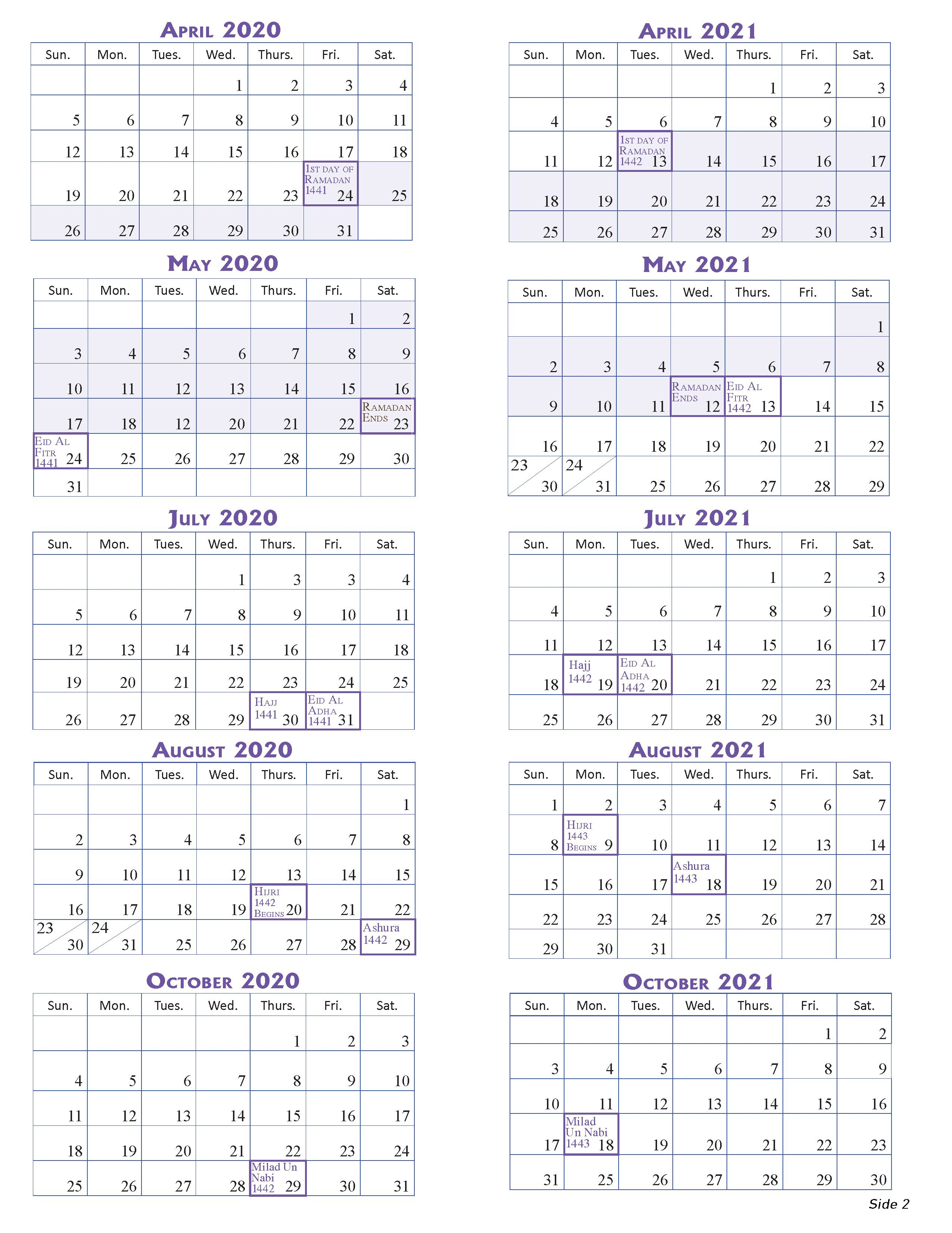 2020-2021 Islamic Calendar