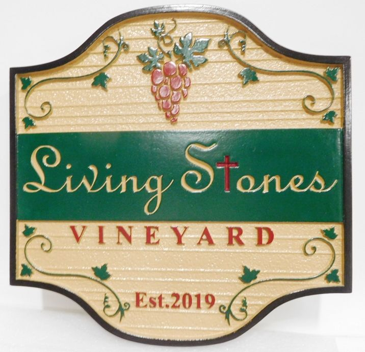 R27005 - Carved  and Sandblasted Wood Grain HDU Sign for the Living Stones Vineyard, 2.5-D Artist-Painted with Grape Cluster and Vines as Artwork