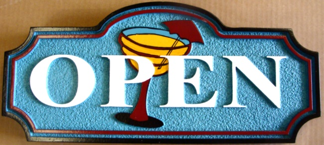 """RB27190 - """"Bar is Open"""" Plaque for Home or Commercial Bar"""