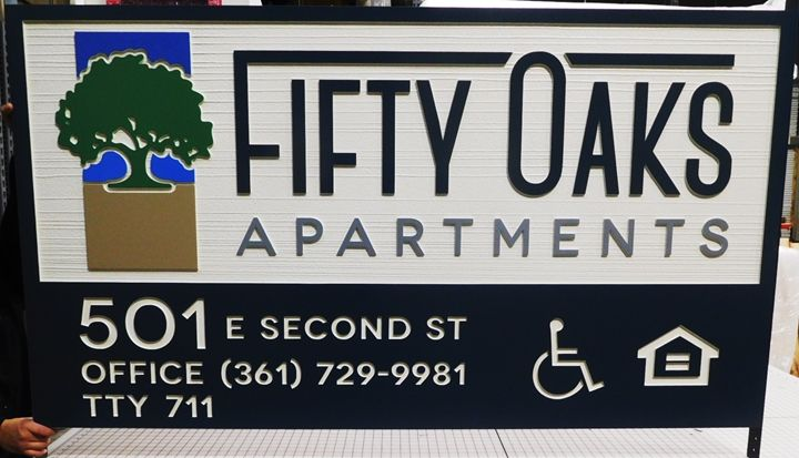 "K20345 - Carved HDU Entrance Sign for ,the ""Fifty Oaks"" Apartments,   with Wood Grain Sandblasted Background"