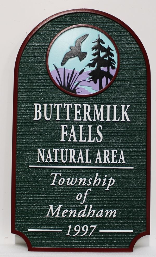 "GA16429 - Carved 2.5-D Multi-level Relief HDU Sign for the ""Buttermilk Falls Natural Area"" , Township of Mendham, New Jersey."