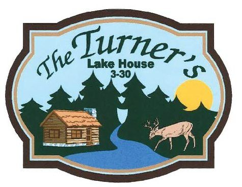 M22409- Carved Lake House Sign, with Cabin and Deer in Woods by Lake