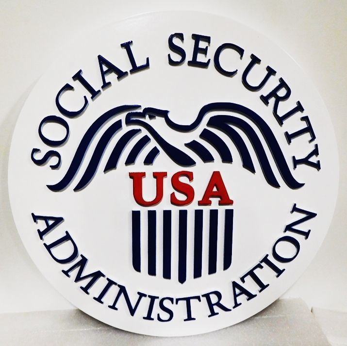 U30434 - Carved 2.5-D HDU Plaque of the Seal of the Social Security Administration