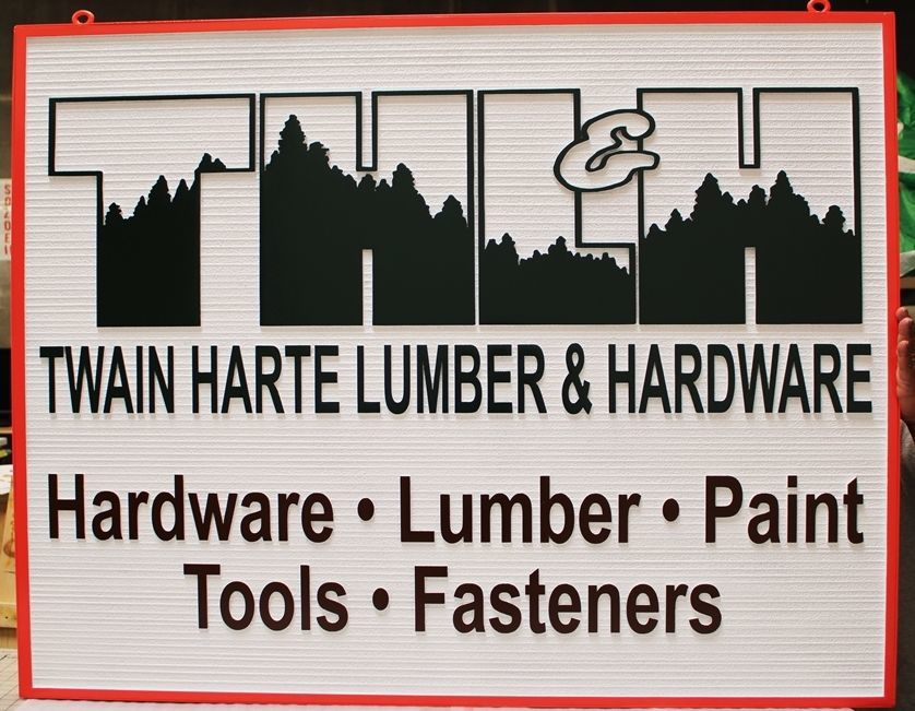S28222 - Carved 2.5-Dand Sandblasted Wood Grain HDU  Sign for the TwainHarte Lumber & Hardware store, with the THL&H Logo as Artwork