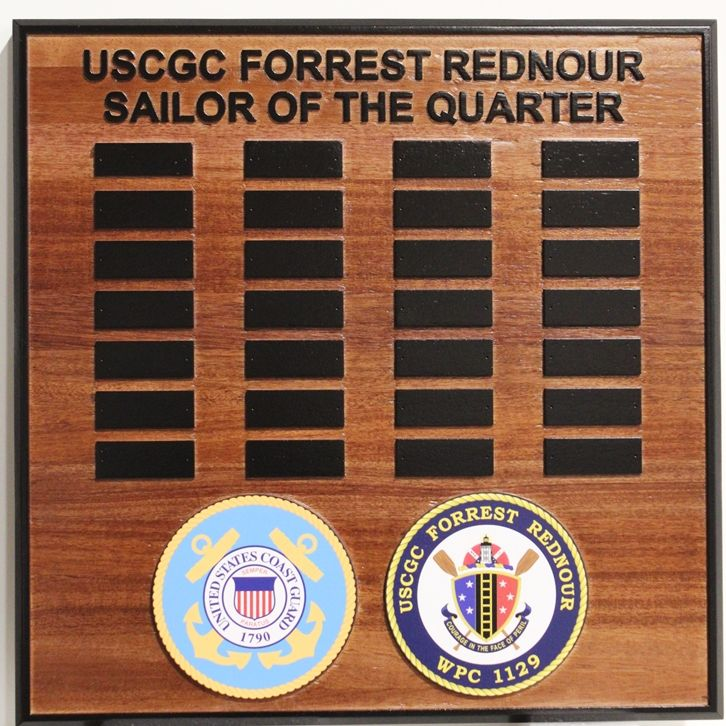 "NP-2560 - Carved ""Sailor of the Quarter"" Award  Board for the US Coast Guard Cutter Forest Rednour, WPC 1129, 2.5-D Redwood with Nameplates"