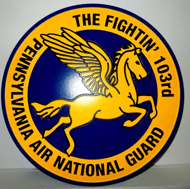 """V31633 - Carved Wood Wall Plaque of the Crest for the Pennsylvania Air National Guard """"The Fightin' 103rd"""",  with Pegasus"""
