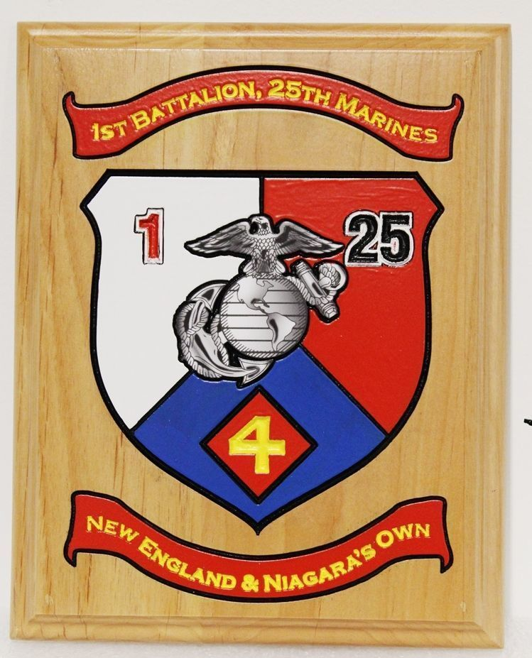 431434 - Engraved Cedar Wood 2.5-D  plaque for the 1st Battalion, 25th Marines