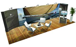 curved modular exhibit system design