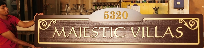 "K20219  - Carved HDU Sign,  for  the ""Majestic Villas "" Residential Community, with Wood Grain Sandblasted Background"