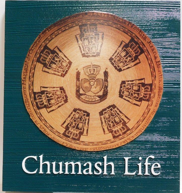 DP-1272 - Carved plaque of the Emblem of ChumashLife, Cedar Wood
