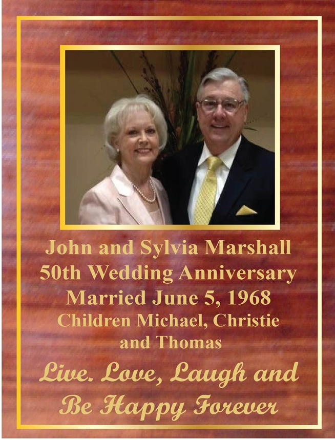 WM1630 - Commemorative  Photo Plaque for50th Wedding Anniversary, Mahogany