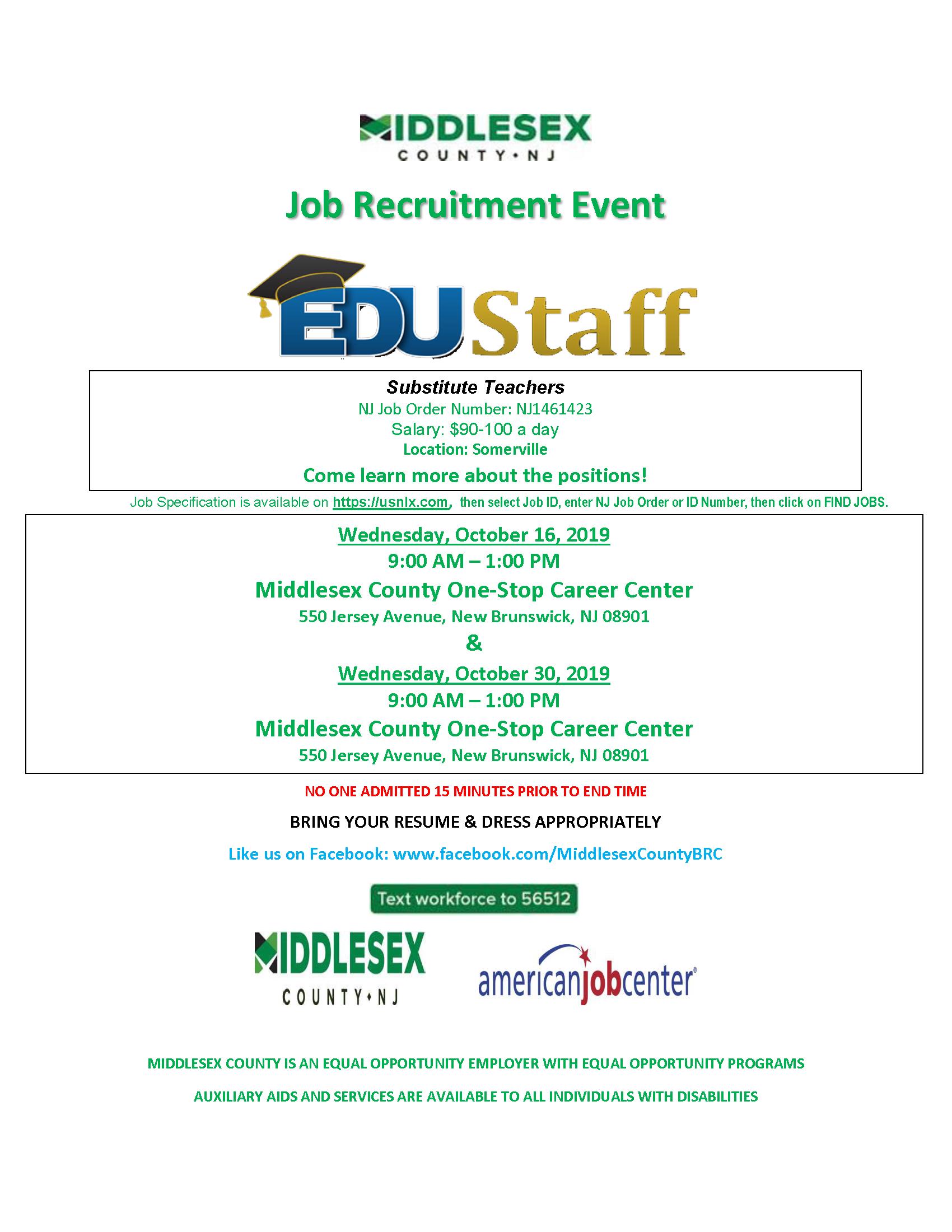 Job Recruitment Event- EDUStaff  (Substitute Teachers)