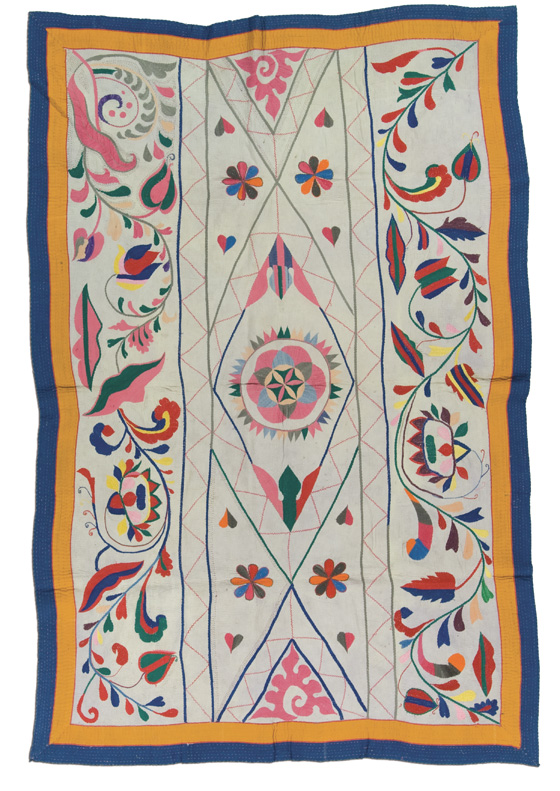 West Bengal Kantha,  probably made in West Bengal, India, circa 1975-2000, 84 x 55.5 in, IQSCM 2006.027.0007