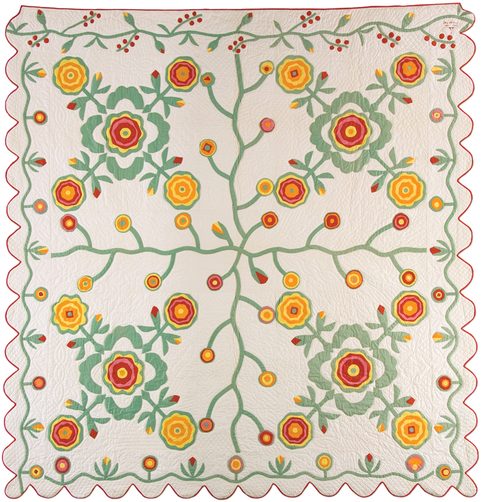 English Rose variation, made by Olive Emily McClure Cook, dated 1939, made in Anna, Illinois, machine pieced, embroidered, hand quilted, 88 x 86 inches, IQSCM 1997.007.0669, Ardis and Robert James Collection