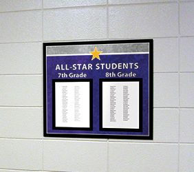 All-Star students school sign in purple/gray, recognition sign with paper holder, custom sign