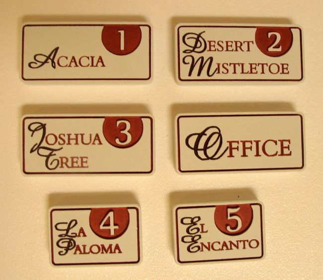 KA20871 -  Carved Engraved Apartment Unit Name Plaques